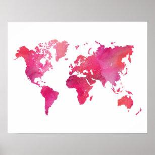 Watercolor world map posters prints zazzle pink watercolor world map poster gumiabroncs Gallery