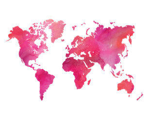 Watercolor world map gifts on zazzle au pink watercolor world map poster gumiabroncs Image collections