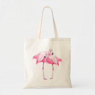 Pink Watercolors Flamingos Illustration Tote Bag