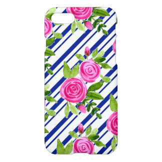 Pink watercolour roses with blue texture backgroun iPhone 8/7 case