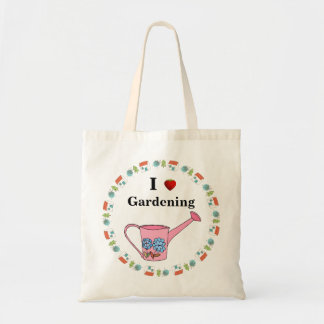Pink Watering Can & Strawberry | I Love Gardening Budget Tote Bag