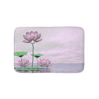 Pink waterlilies and lotus flowers - 3D render Bath Mat