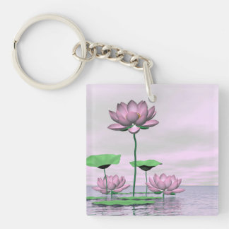 Pink waterlilies and lotus flowers - 3D render Key Ring