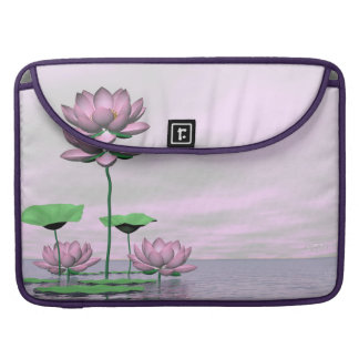 Pink waterlilies and lotus flowers - 3D render MacBook Pro Sleeves