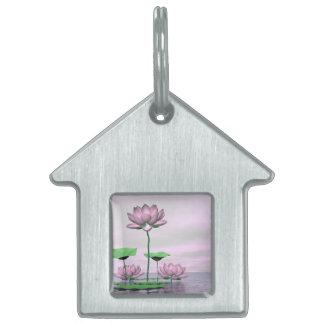 Pink waterlilies and lotus flowers - 3D render Pet ID Tags
