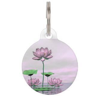Pink waterlilies and lotus flowers - 3D render Pet Name Tag