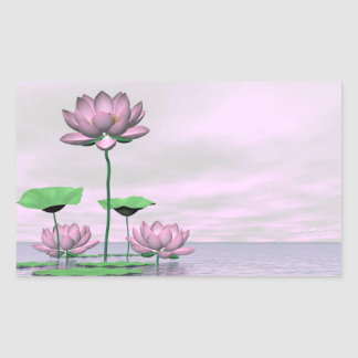 Pink waterlilies and lotus flowers - 3D render Rectangular Sticker