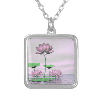 Pink waterlilies and lotus flowers - 3D render Silver Plated Necklace