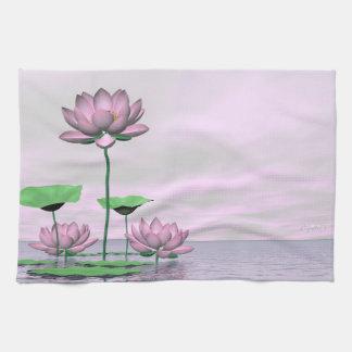 Pink waterlilies and lotus flowers - 3D render Tea Towel