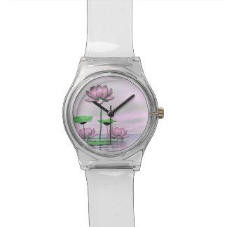 Pink waterlilies and lotus flowers - 3D render Watch