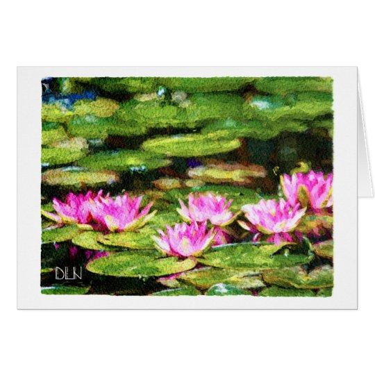 Pink Waterlilies/Floral  Art/Watercolor Look Card