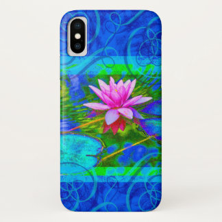 Pink Waterlily in Cobalt Blue Pond Elegant iPhone X Case