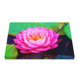 Pink Waterlily Perspective Painting Wrapped Canvas