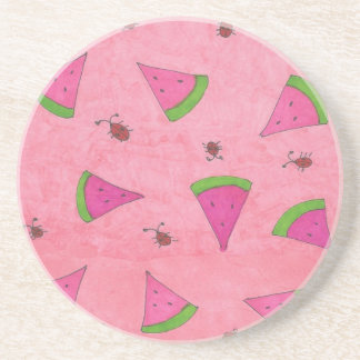 Pink Watermelon and Lady Bugs Coaster