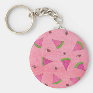 Pink Watermelon and Lady Bugs Key Ring