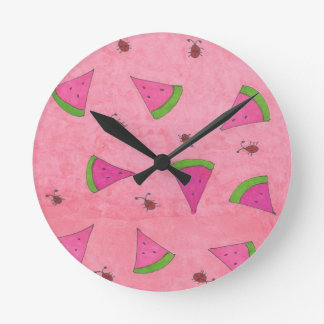 Pink Watermelon and Lady Bugs Round Clock