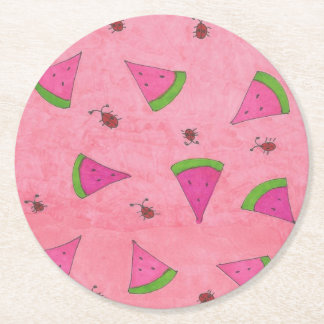 Pink Watermelon and Lady Bugs Round Paper Coaster