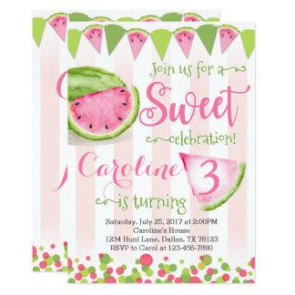 Pink Watermelon Birthday Party Invitation Invite