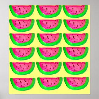 Pink watermelon fruit pop art poster