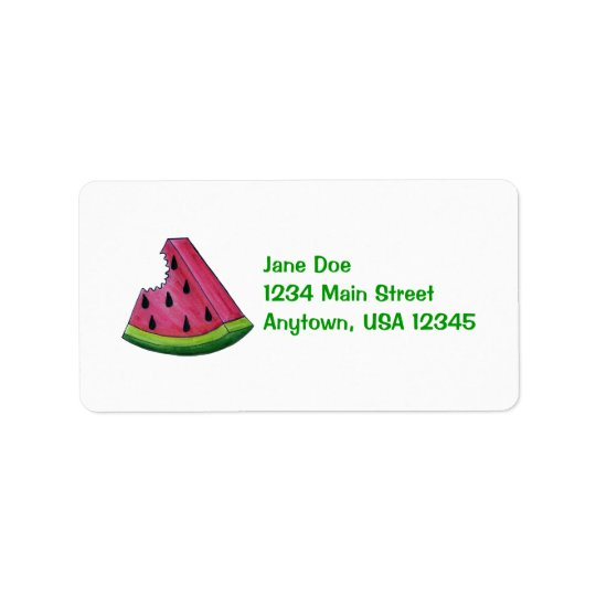 Pink Watermelon Fruity Fruit Slice Address Label