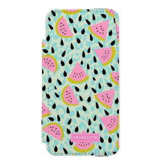 Pink Watermelons Aqua Leopard Print Personalized Incipio Watson™ iPhone 5 Wallet Case