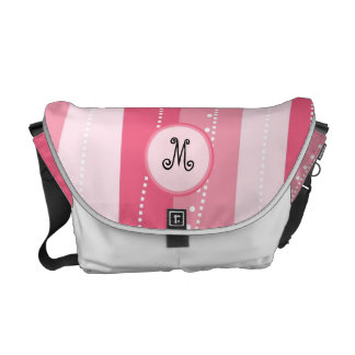 Pink Wavy Stripes with Monogram Personalized Bag Messenger Bags