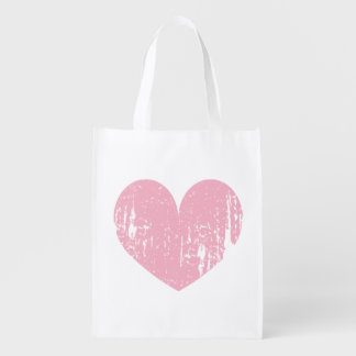 Pink weathered heart design reusable shopping bag