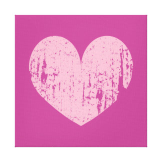 Pink weathered heart symbol art canvas print