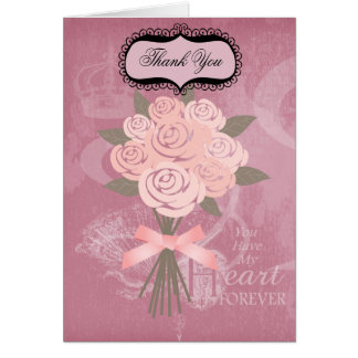 Pink Wedding Bouquet Thank You Note Cards