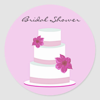 Pink Wedding Cake Bridal Shower Sticker