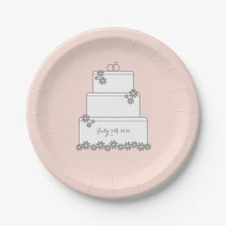 Pink Wedding Cake Dessert Reception Plate 7 Inch Paper Plate