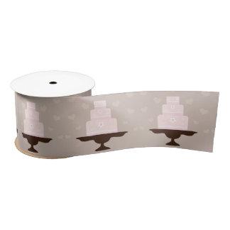 "Pink Wedding Cake Spool of Ribbon 3"" width Satin Ribbon"