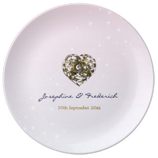 Pink Wedding Hearts Plate