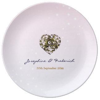 Pink Wedding Hearts Porcelain Plate