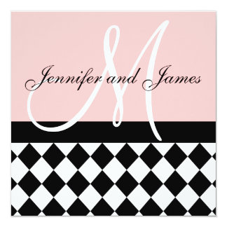 Pink Wedding Invitation Monogram Names Harlequin