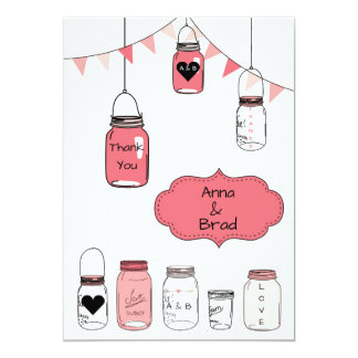Pink Wedding Jars - Thank You Card