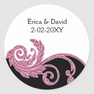 pink wedding label round sticker