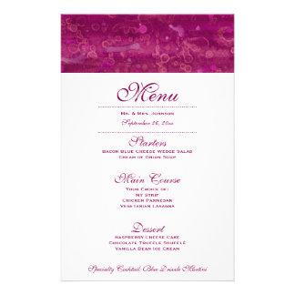 Pink Wedding Menu