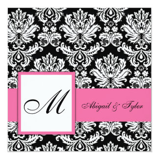 Pink Wedding Monogram Damask Invitation