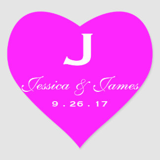Pink Wedding Monogram Heart Sticker
