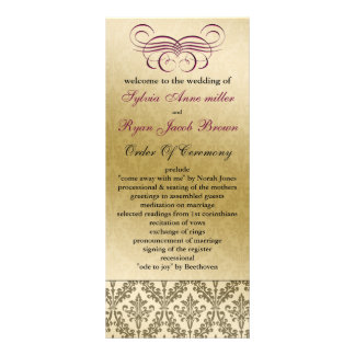 pink  Wedding program Full Color Rack Card
