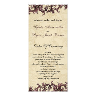 pink Wedding program Rack Card