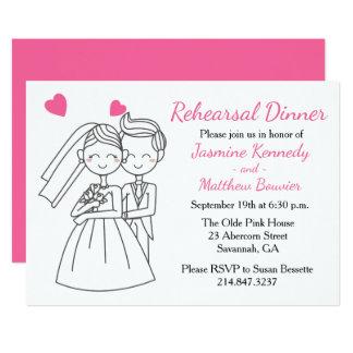Pink Wedding Rehearsal Dinner Bride & Groom Hearts 13 Cm X 18 Cm Invitation Card