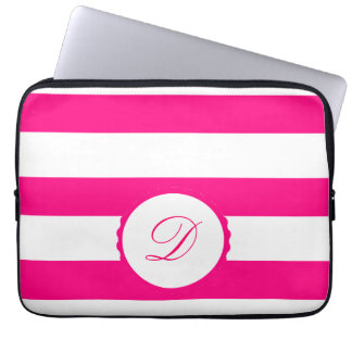 Pink Weis touched mono gram personalizes Laptop Computer Sleeve