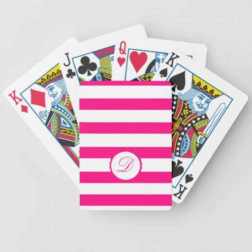 Pink Weis touched mono gram personalizes Bicycle Card Decks