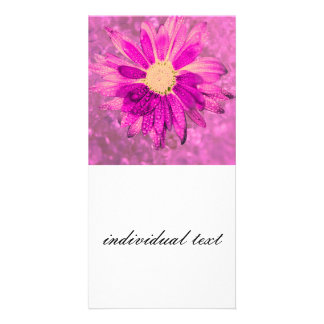 pink wet flower personalized photo card