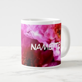 pink wet flowers large coffee mug