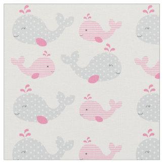 Pink Whale Baby Nursery Fabric