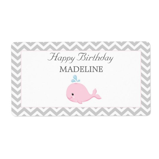 Pink Whale Bottle Label Shipping Label