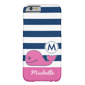 Pink Whale & Navy Stripes Barely There iPhone 6 Case